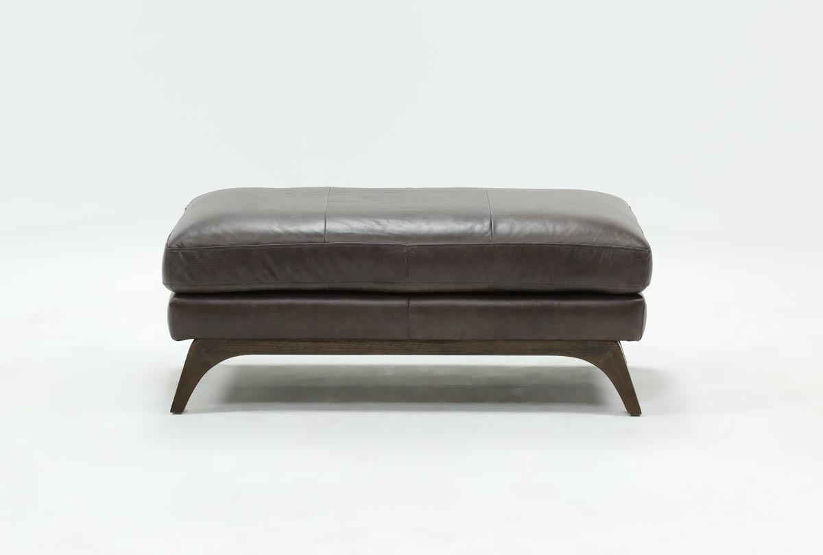 Cosette Leather Ottoman | Living Spaces For Cosette Leather Sofa Chairs (Photo 8 of 20)