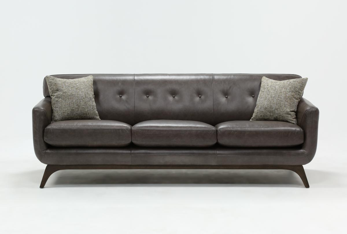 Cosette Leather Sofa | Living Spaces Pertaining To Caressa Leather Dark Grey Sofa Chairs (Image 17 of 20)