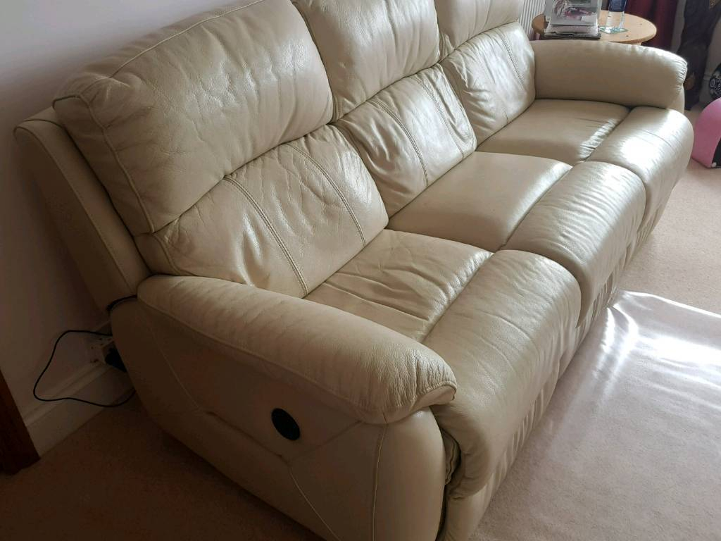 Cream Leather Dfs 3 Seater Sofa And Arm Chair | In Plymouth, Devon Regarding Devon Ii Arm Sofa Chairs (Image 7 of 20)