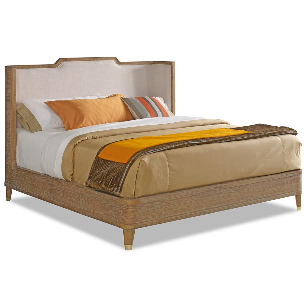 Cullen Modern Classic Brown Teak Cream Linen Bed – Queen | Kathy Kuo With Regard To Quinn Teak Sofa Chairs (View 19 of 20)