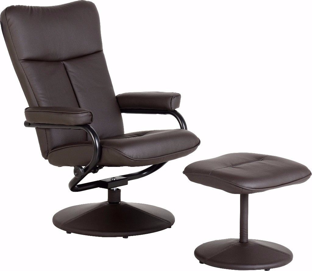 Dark Espresso Brown Faux Leather Recliner, Swivel Chair With Intended For Espresso Leather Swivel Chairs (Image 11 of 20)