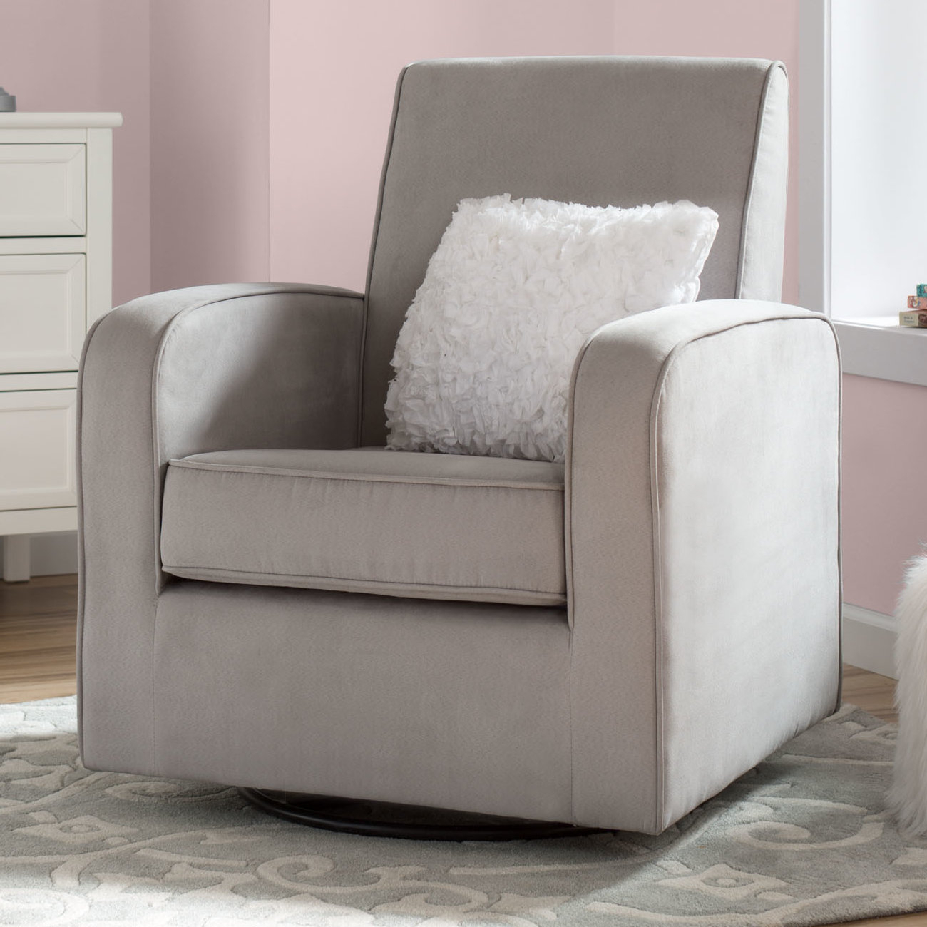 Delta Children Chloe Swivel Glider | Wayfair Intended For Katrina Grey Swivel Glider Chairs (Image 5 of 20)