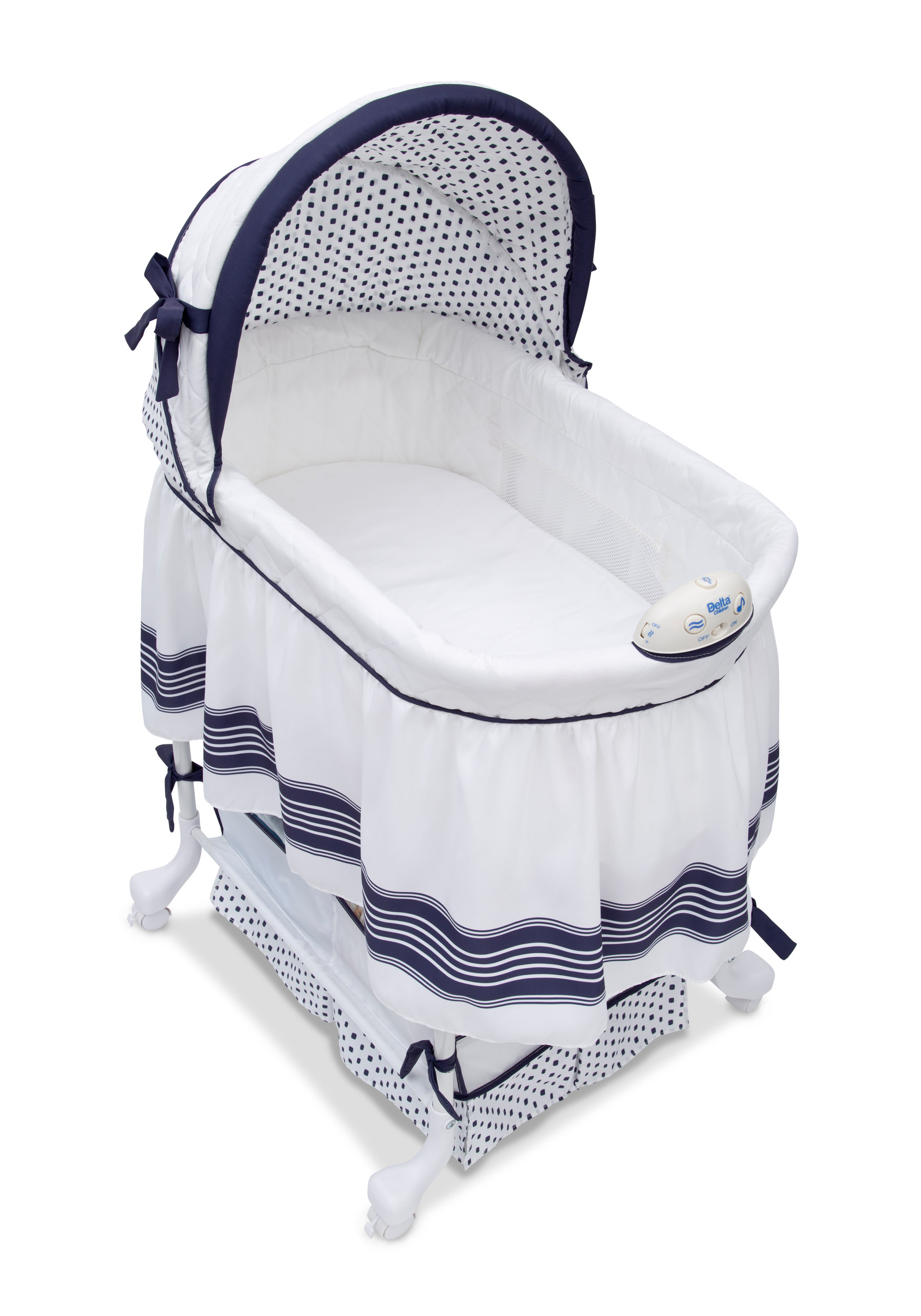 Delta Children Smooth Glide Bassinet & Reviews | Wayfair Regarding Bailey Mist Track Arm Skirted Swivel Gliders (Image 10 of 20)