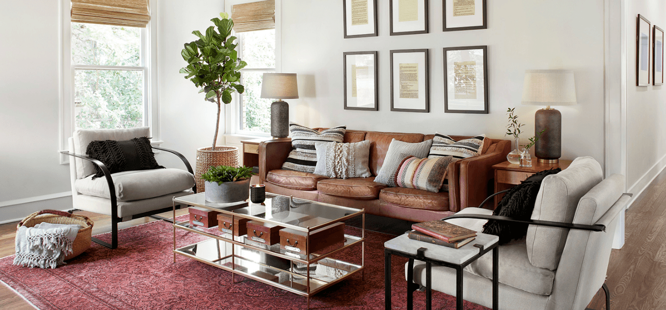 Design Tips From Joanna Gaines | Living Room In The Lunar Lander In Magnolia Home Foundation Leather Sofa Chairs (Image 1 of 20)