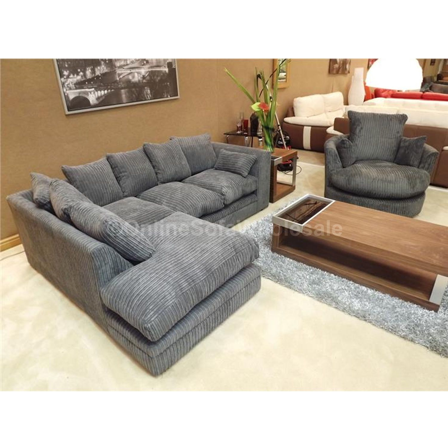 Details About Dylan Corner Sofa Left Hand Plus Swivel Chair – All With Regard To Dark Grey Swivel Chairs (Photo 19 of 20)