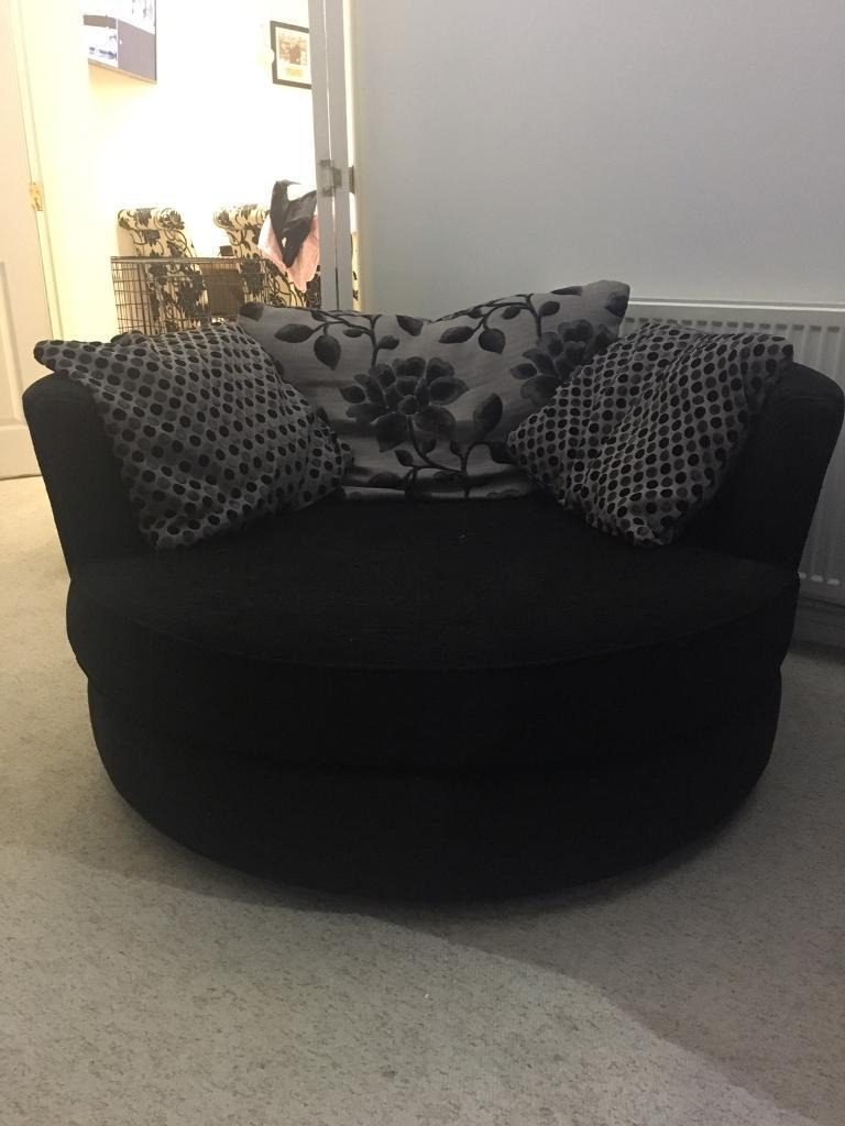 Dfs 3 Seater, Swivel Cuddle Love Chair And Armchair Black Joelle In Gibson Swivel Cuddler Chairs (View 9 of 20)