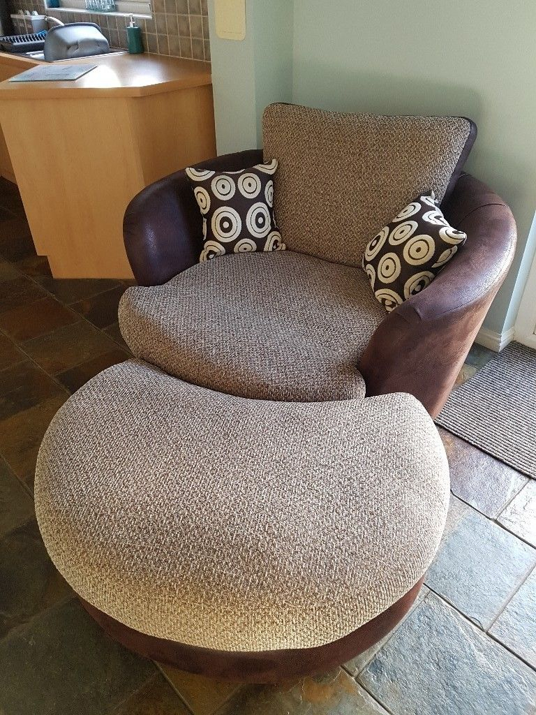 Dfs Cuddle Swivel Chair And Footstool | In Larbert, Falkirk | Gumtree In Gibson Swivel Cuddler Chairs (View 7 of 20)