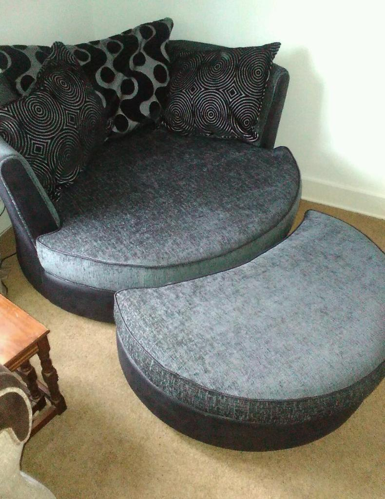 Dfs Shannon Cuddler Swivel Chair With Footstall In Charcoal (View 8 of 20)
