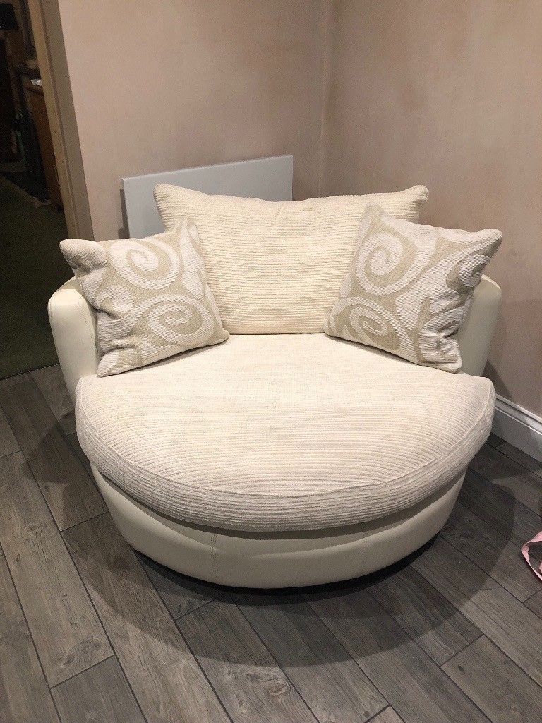 Dfs White Cuddler Swivel Chair | In Chalfont St Peter Inside Gibson Swivel Cuddler Chairs (View 8 of 20)