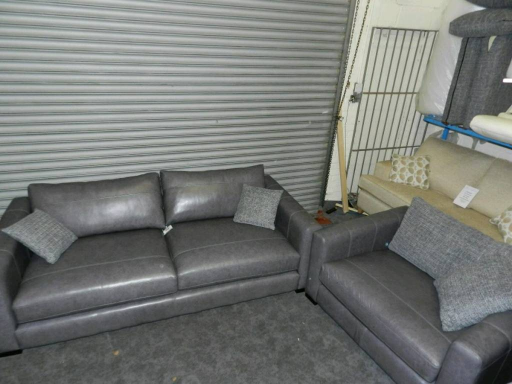 Dillon Grey Leather Large Sofa + Snuggler Chair | In Mansfield Within Mansfield Graphite Velvet Sofa Chairs (Image 3 of 20)
