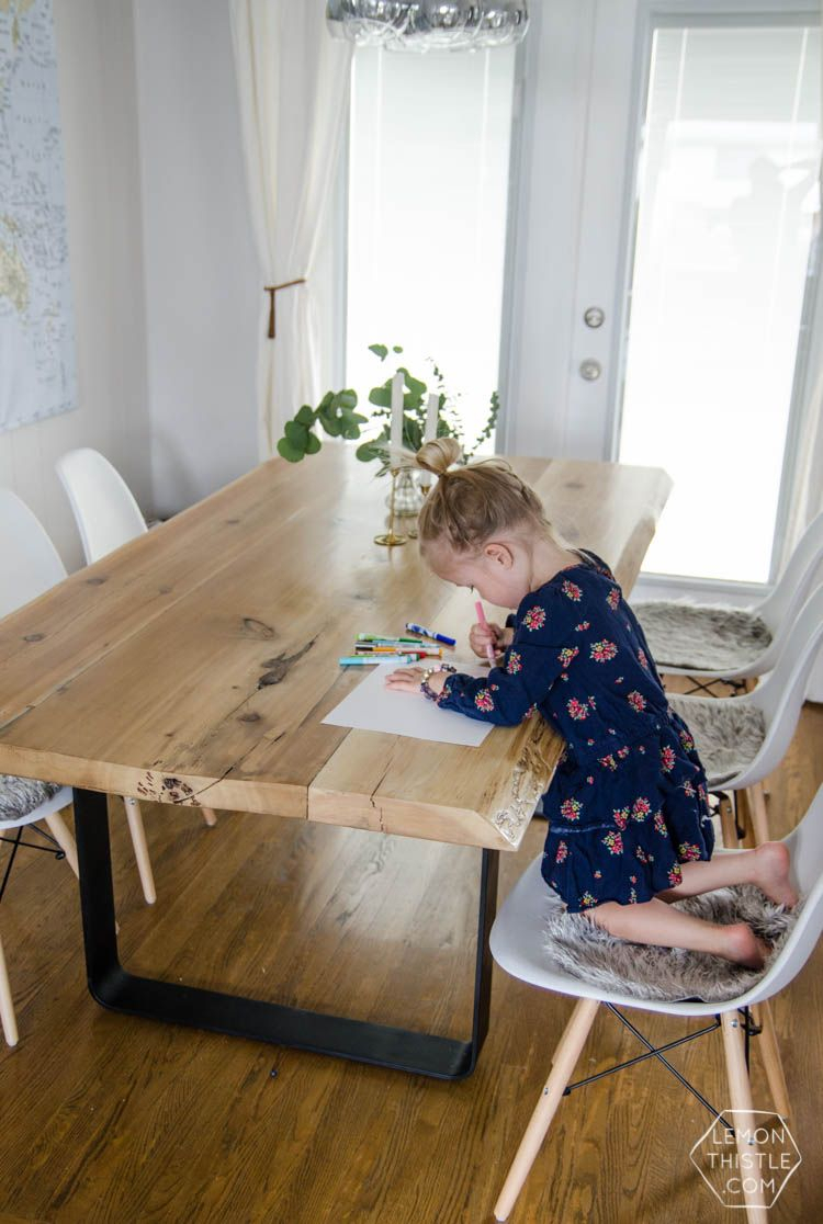 Diy Live Edge Table With Steel Base | Dining Room | Pinterest In Liv Arm Sofa Chairs (Photo 17 of 20)