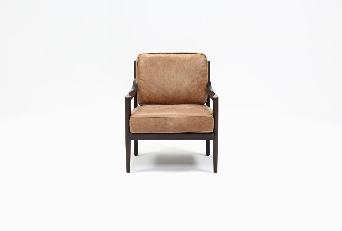 Dominic Saddle Accent Chair | Living Spaces For Moana Taupe Leather Power Reclining Sofa Chairs With Usb (Image 1 of 20)