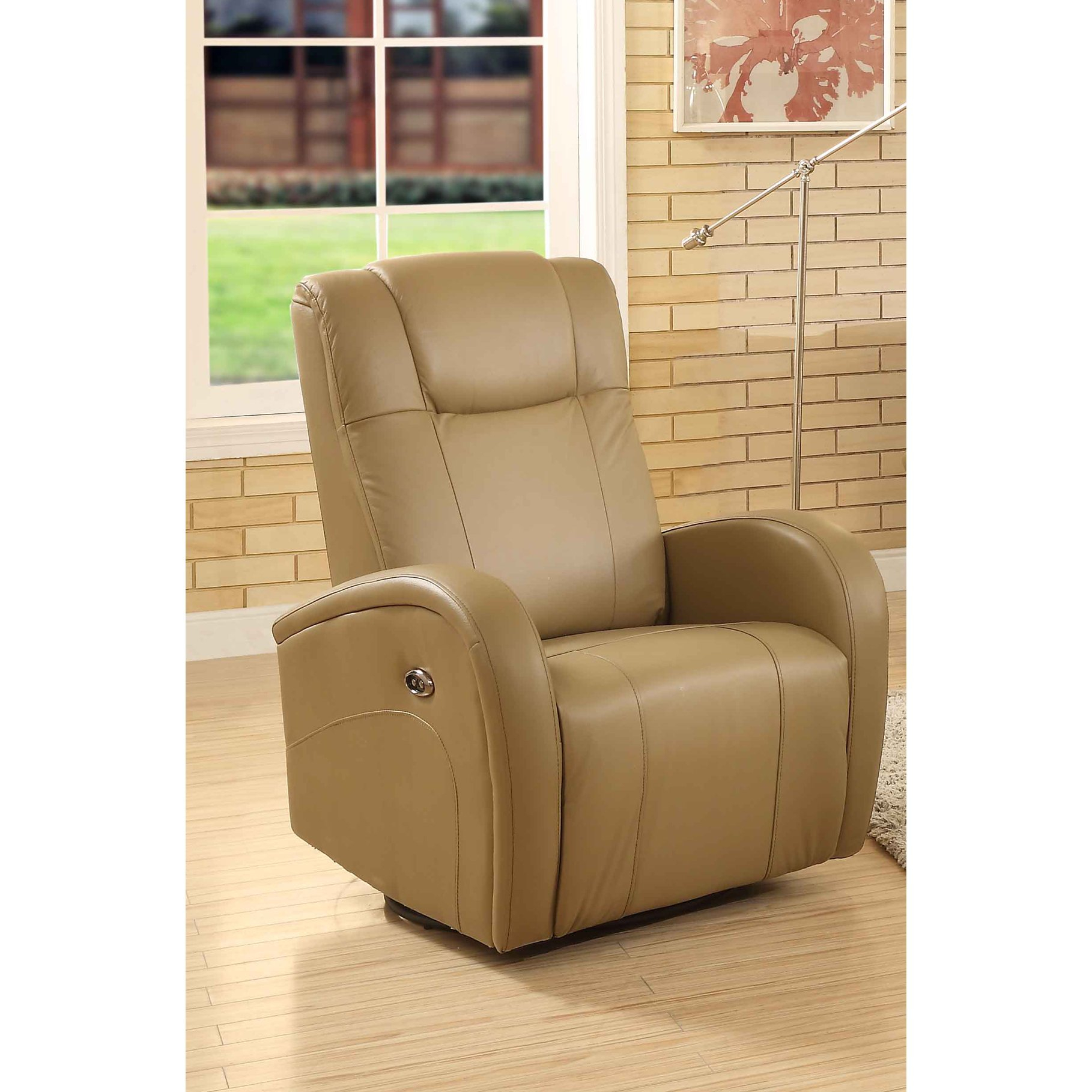 Easy Living Swiss Leather Swivel Power Glider Recliner With Usb In Gannon Linen Power Swivel Recliners (Image 3 of 20)
