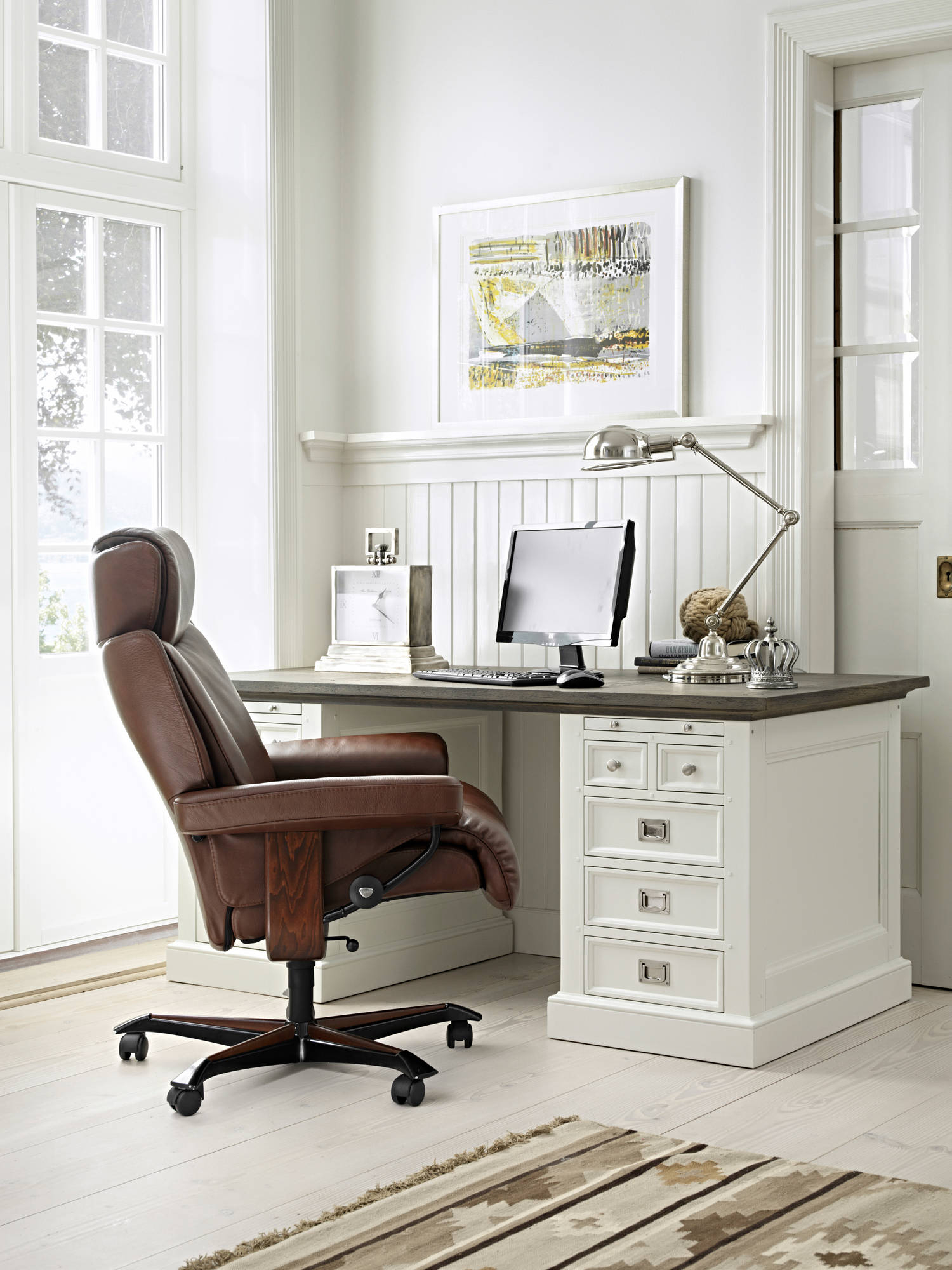 Ekornes Stressless Magic Office Chair | Luxury On Wheels Pertaining To Kawai Leather Swivel Chairs (Photo 17 of 20)