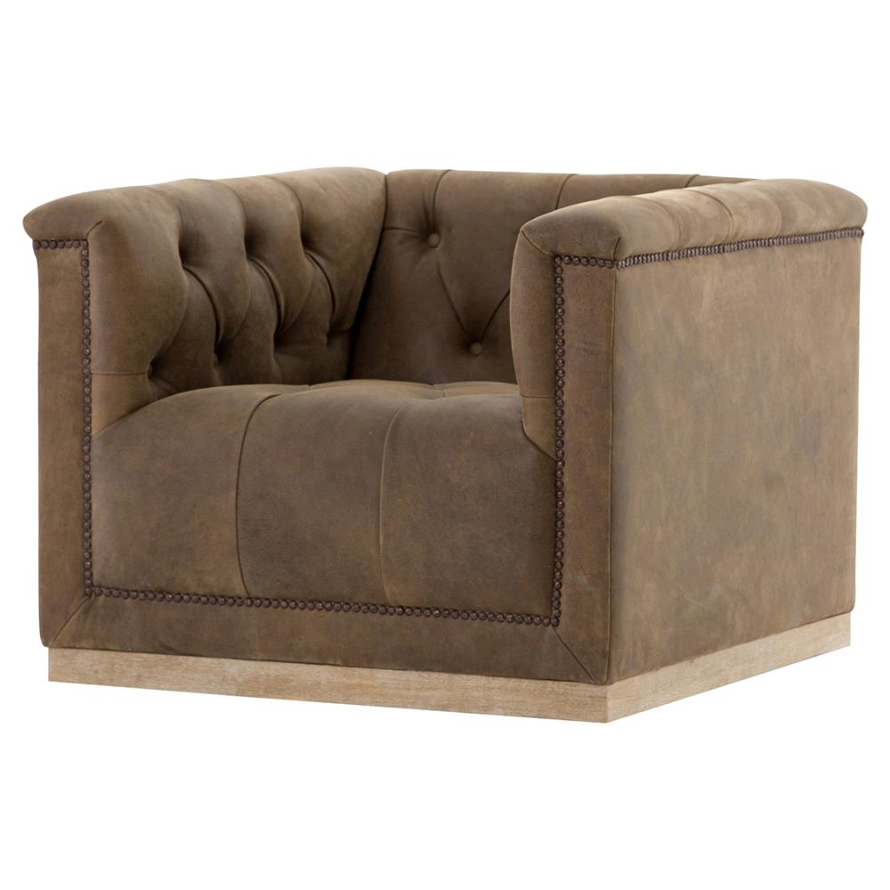 Elder Rustic Lodge Tufted Brown Leather Swivel Arm Chair | Kathy Kuo Inside Chocolate Brown Leather Tufted Swivel Chairs (View 15 of 20)