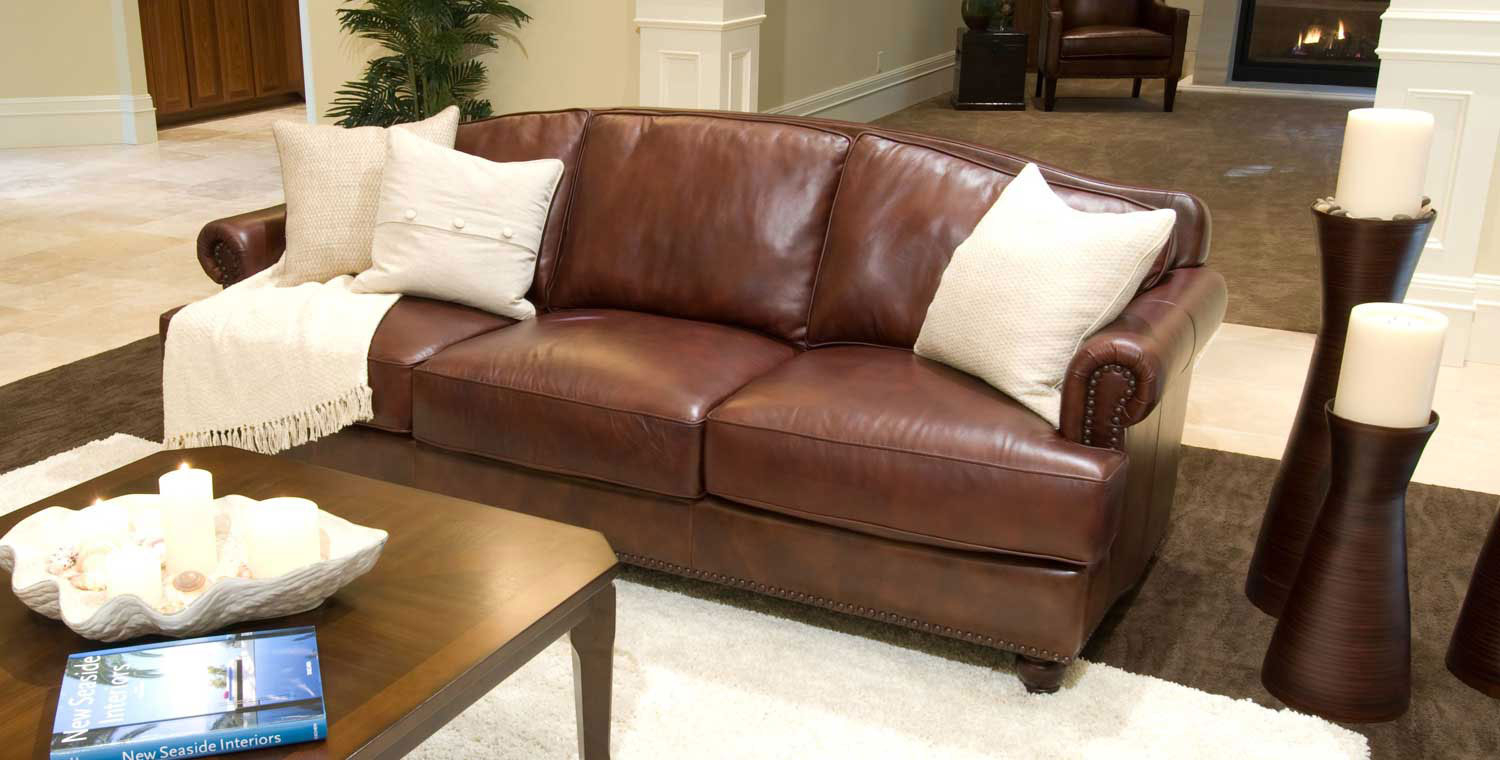 Elements Fine Home Furnishings Mansfield Top Grain Leather Sofa In Mansfield Cocoa Leather Sofa Chairs (Photo 9 of 20)