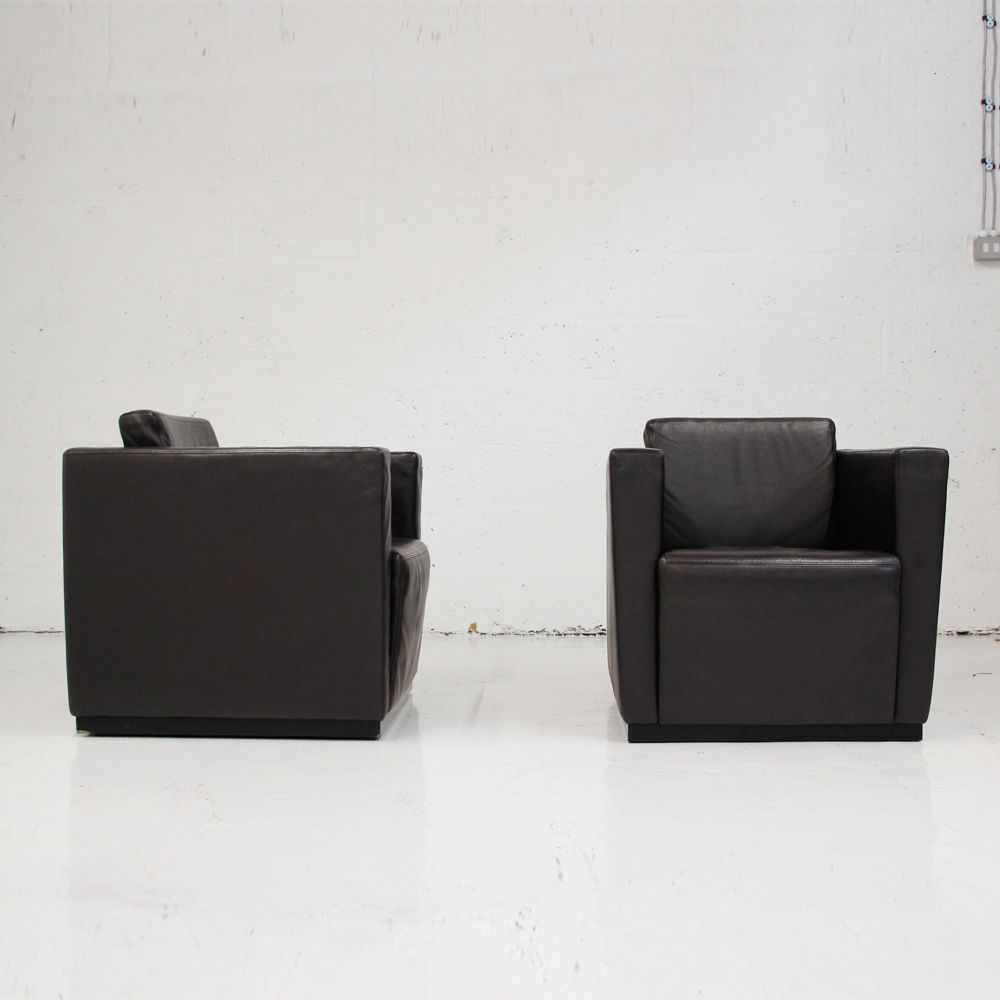 Elton Armchairwalter Knoll | Leather Armchair | Leather Cube Chair With Walter Leather Sofa Chairs (Image 2 of 20)