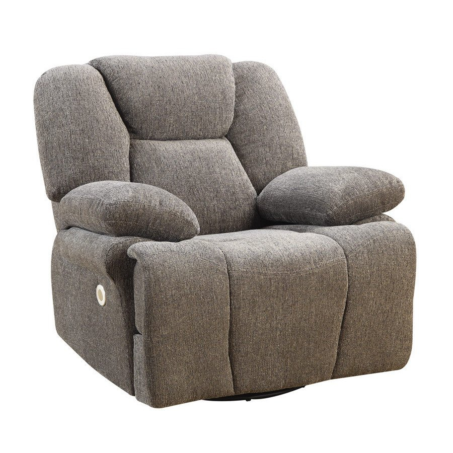 Emerald Home Caressa Grey Power Swivel Glider Recliner With Regard To Gannon Linen Power Swivel Recliners (Image 4 of 20)