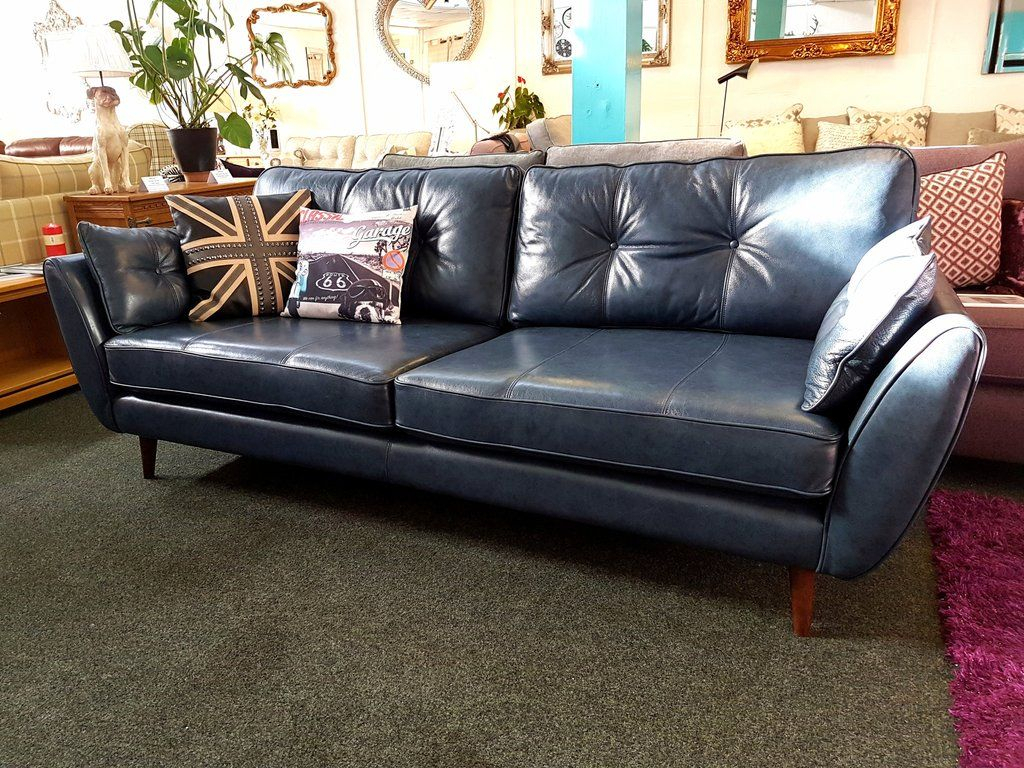 Ex Display French Connection Zinc Blue Leather 4 Seater Sofa £959 Within Caressa Leather Dark Grey Sofa Chairs (Image 20 of 20)