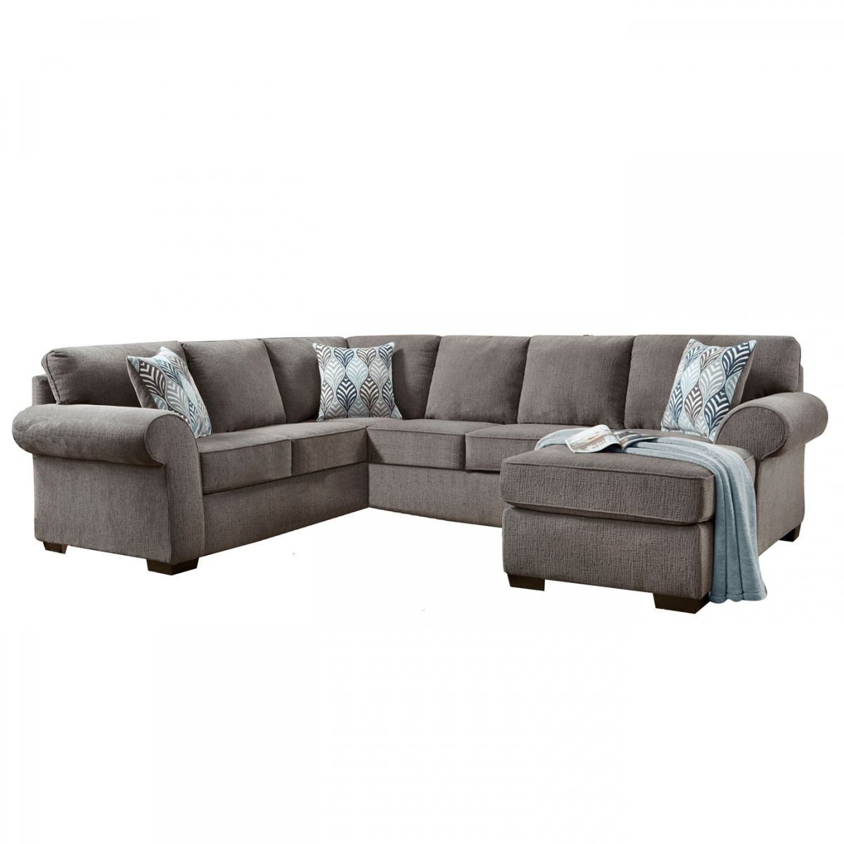 Fabric Sectional Sofa In Grey Shop For Affordable Home Furniture In Mcdade Graphite Sofa Chairs (Image 5 of 20)