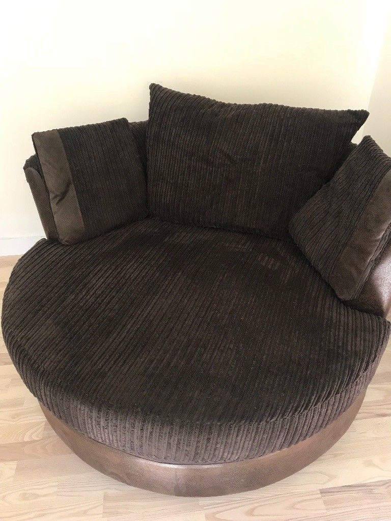 Fabric Sofa & Swivel Chair Dfs Chocolate Brown | In Whyteleafe Inside Gibson Swivel Cuddler Chairs (View 11 of 20)
