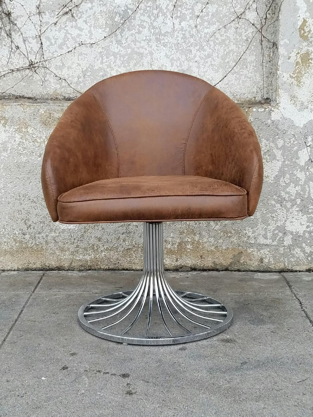Faux Distressed Leather Vintage Swivel Chair In Tobacco Brown With Regard To Swivel Tobacco Leather Chairs (Image 7 of 20)