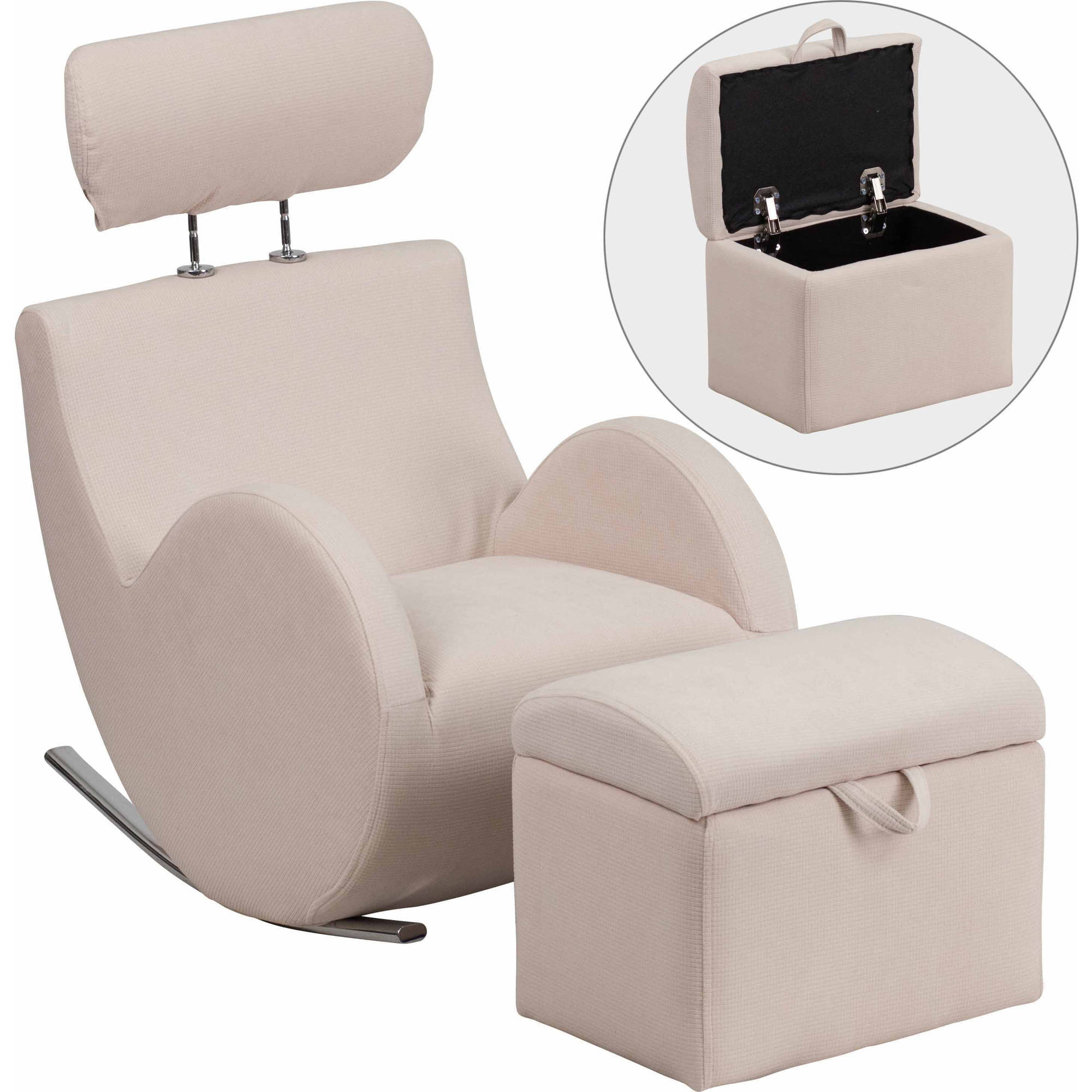 Flash Furniture Hercules Series Fabric Rocking Chair With Storage Regarding Hercules Grey Swivel Glider Recliners (Image 3 of 20)