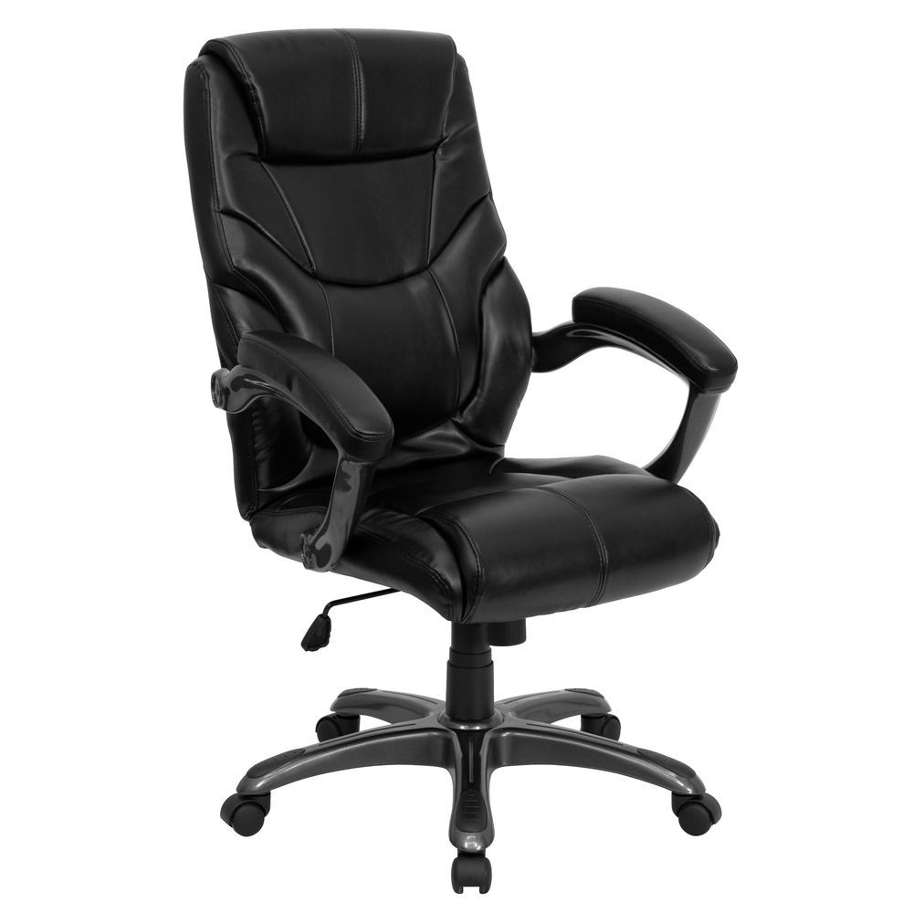 Flash Furniture High Back Black Leather Overstuffed Executive Swivel Regarding Leather Black Swivel Chairs (Image 7 of 20)