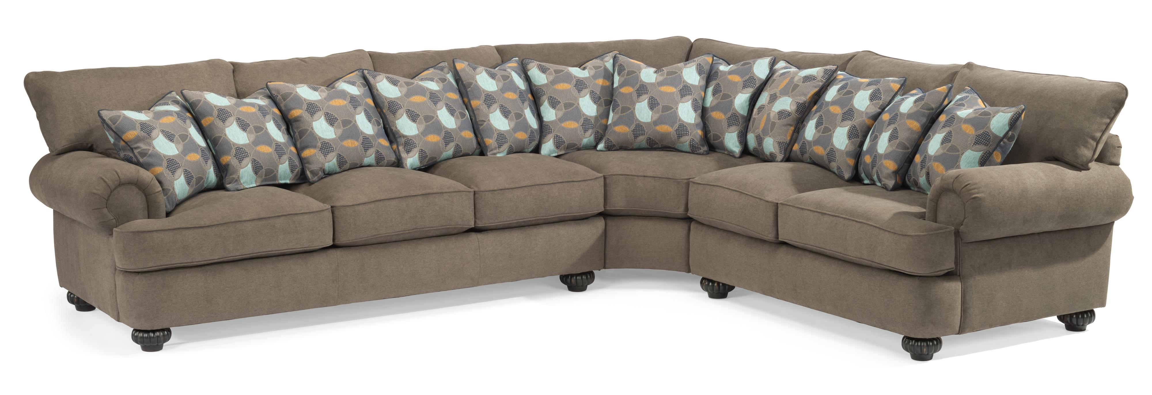Flexsteel Patterson Three Piece Sectional Sofa With Rolled Arms Pertaining To Patterson Ii Arm Sofa Chairs (View 3 of 20)