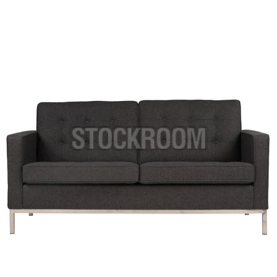 Florence Knoll Fabric Sofa (2 Seater) | Fabric Sofas : Stockroom Pertaining To Aquarius Dark Grey Sofa Chairs (Image 15 of 20)