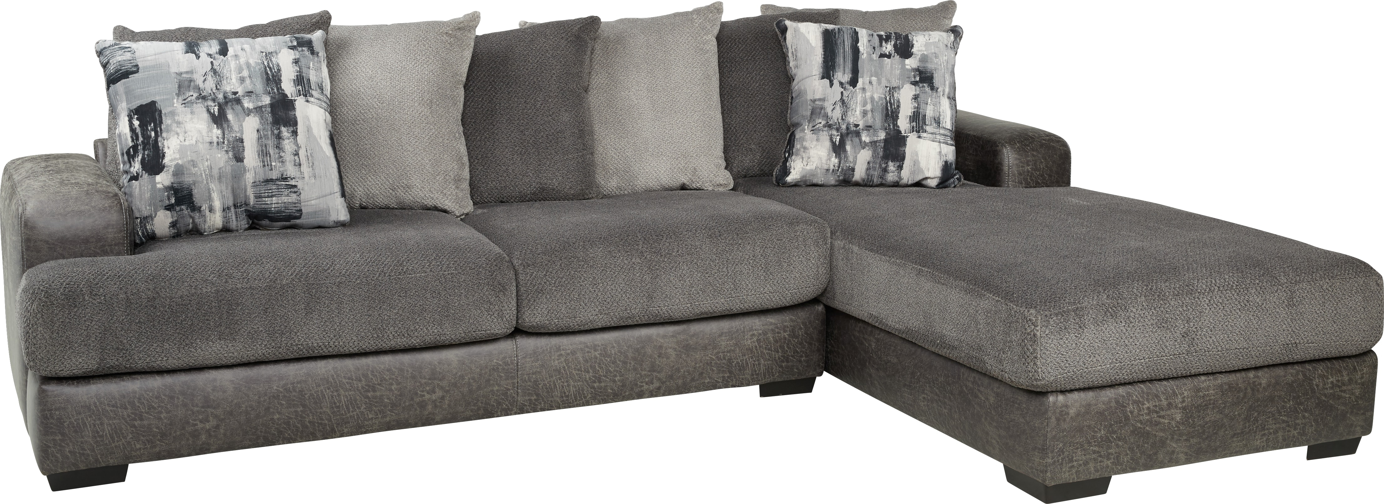Foster Square Graphite 2 Pc Sectional – Living Room Sets (Gray) Intended For Mcdade Graphite Sofa Chairs (Image 7 of 20)
