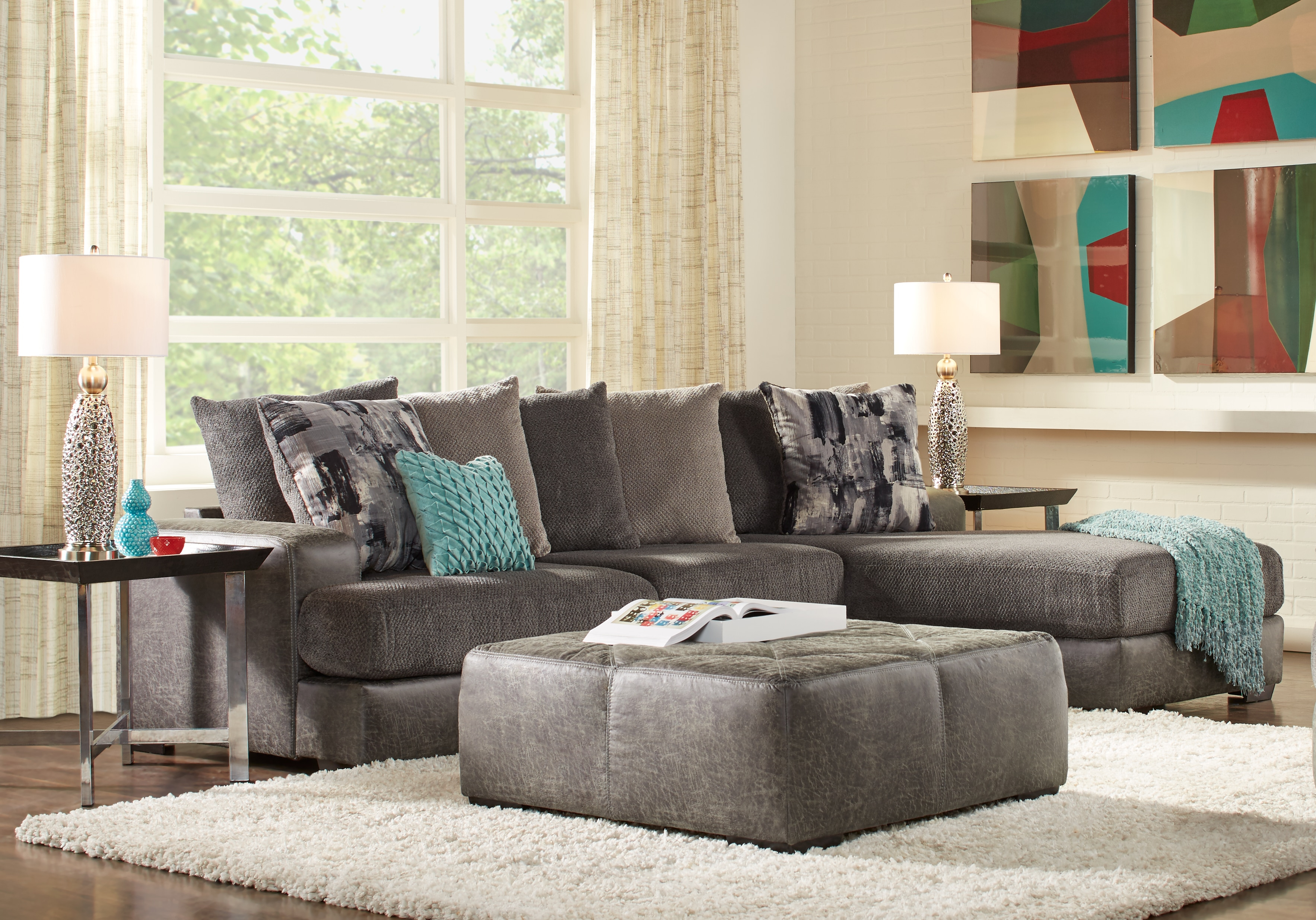 Foster Square Graphite 2 Pc Sectional – Living Room Sets (Gray) Throughout Mcdade Graphite Sofa Chairs (Image 8 of 20)