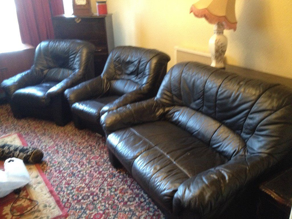 Free***black Leather Sofa & 2 Arm Chairs | In Ipplepen, Devon | Gumtree Pertaining To Devon Ii Arm Sofa Chairs (Image 9 of 20)