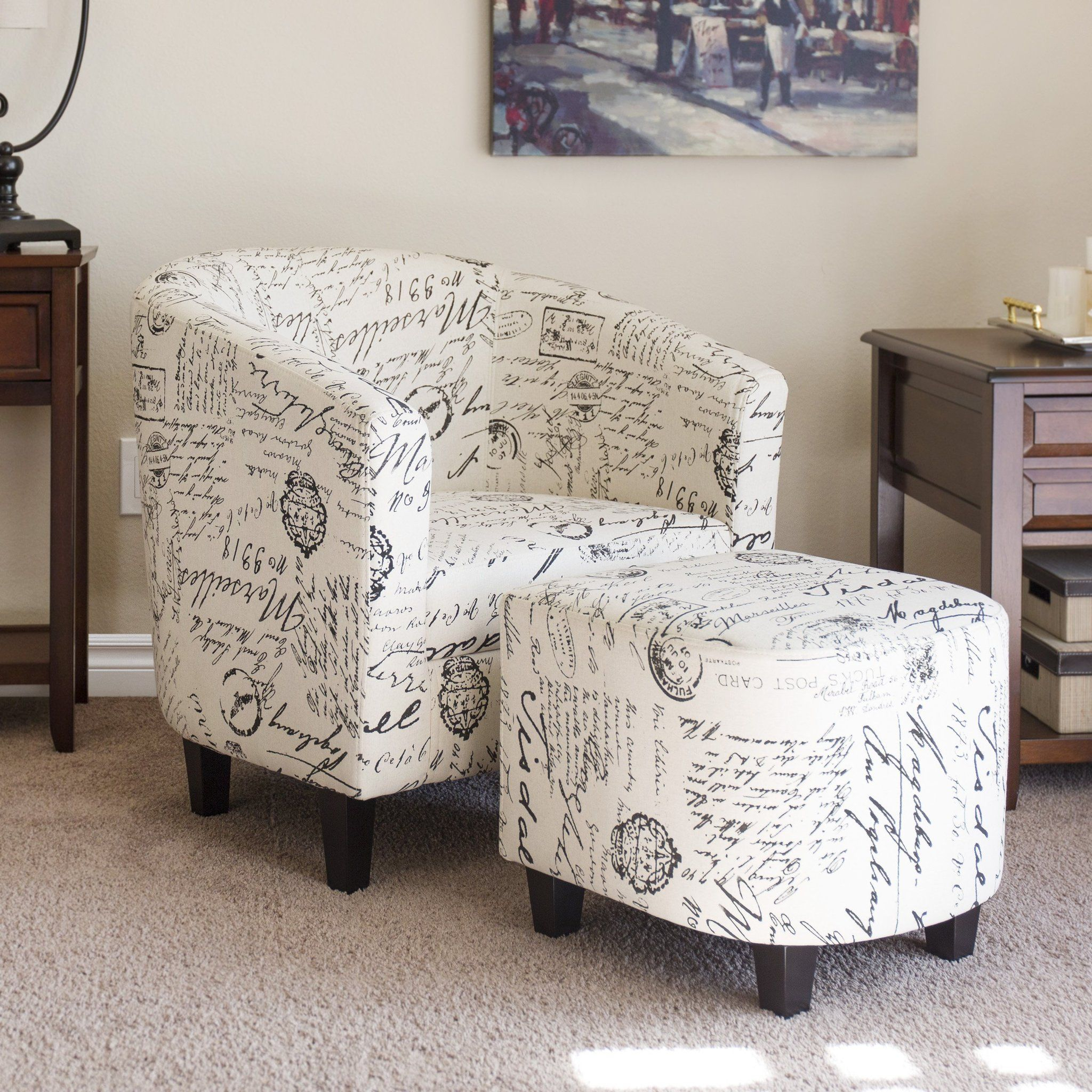 French Print Barrel Accent Chair W/ Ottoman – White – Best Choice For Twirl Swivel Accent Chairs (Photo 13 of 20)