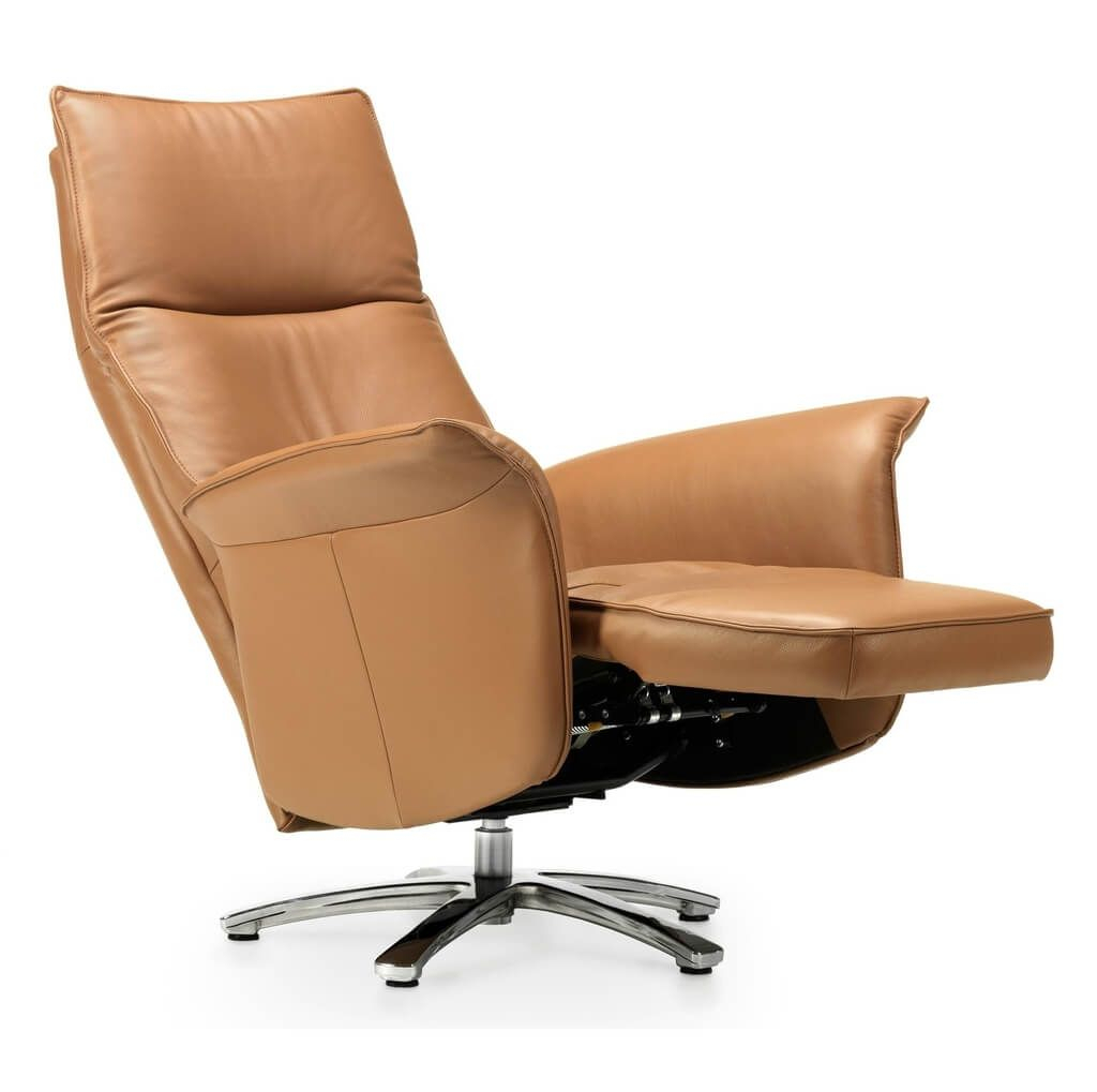 Furniture: Cool Beige Swivel Recliner Chair With Solid Wood Base Regarding Espresso Leather Swivel Chairs (Photo 16 of 20)