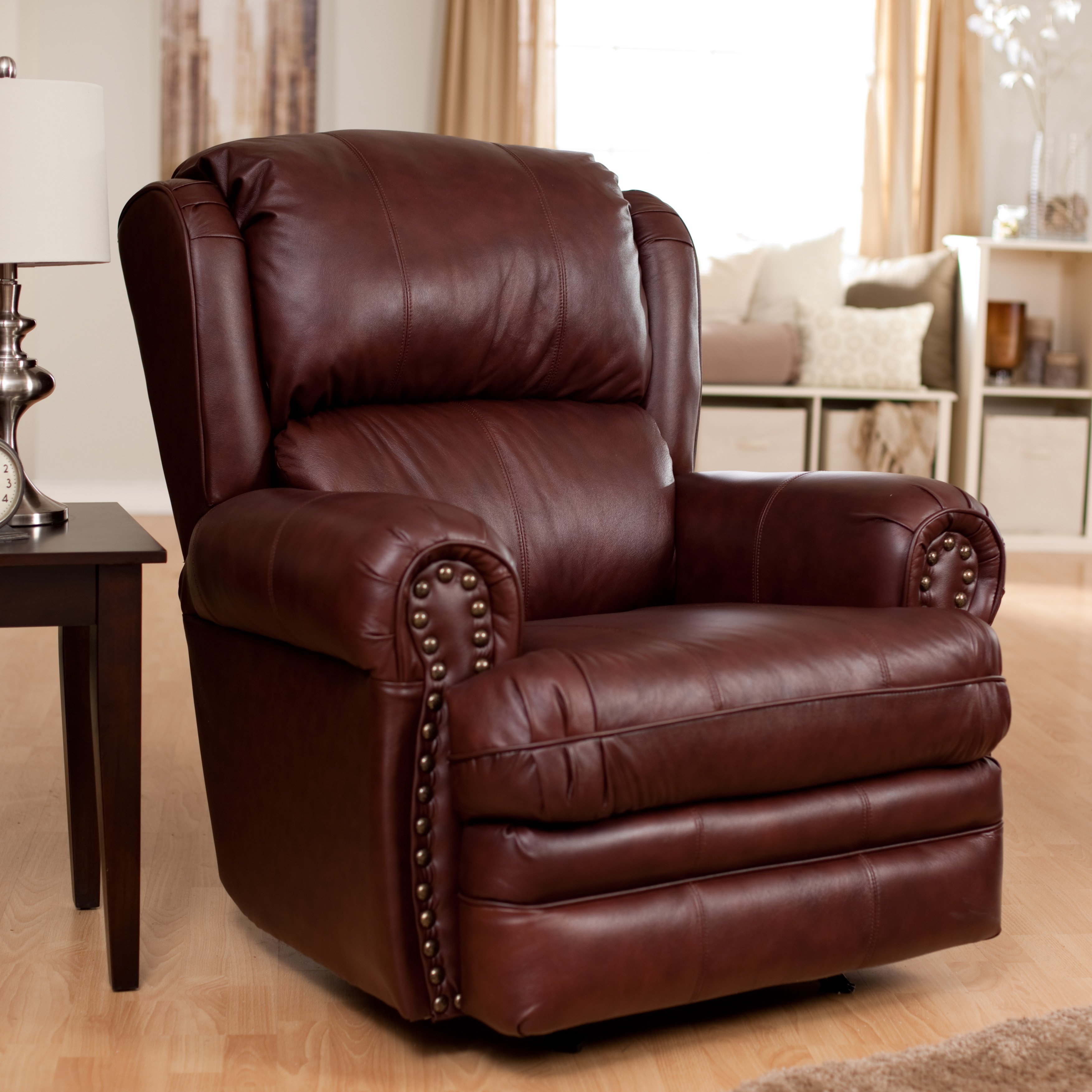 Furniture: Surprising Simmons Recliners For Contemporary Living Room Within Rogan Leather Cafe Latte Swivel Glider Recliners (Image 9 of 20)