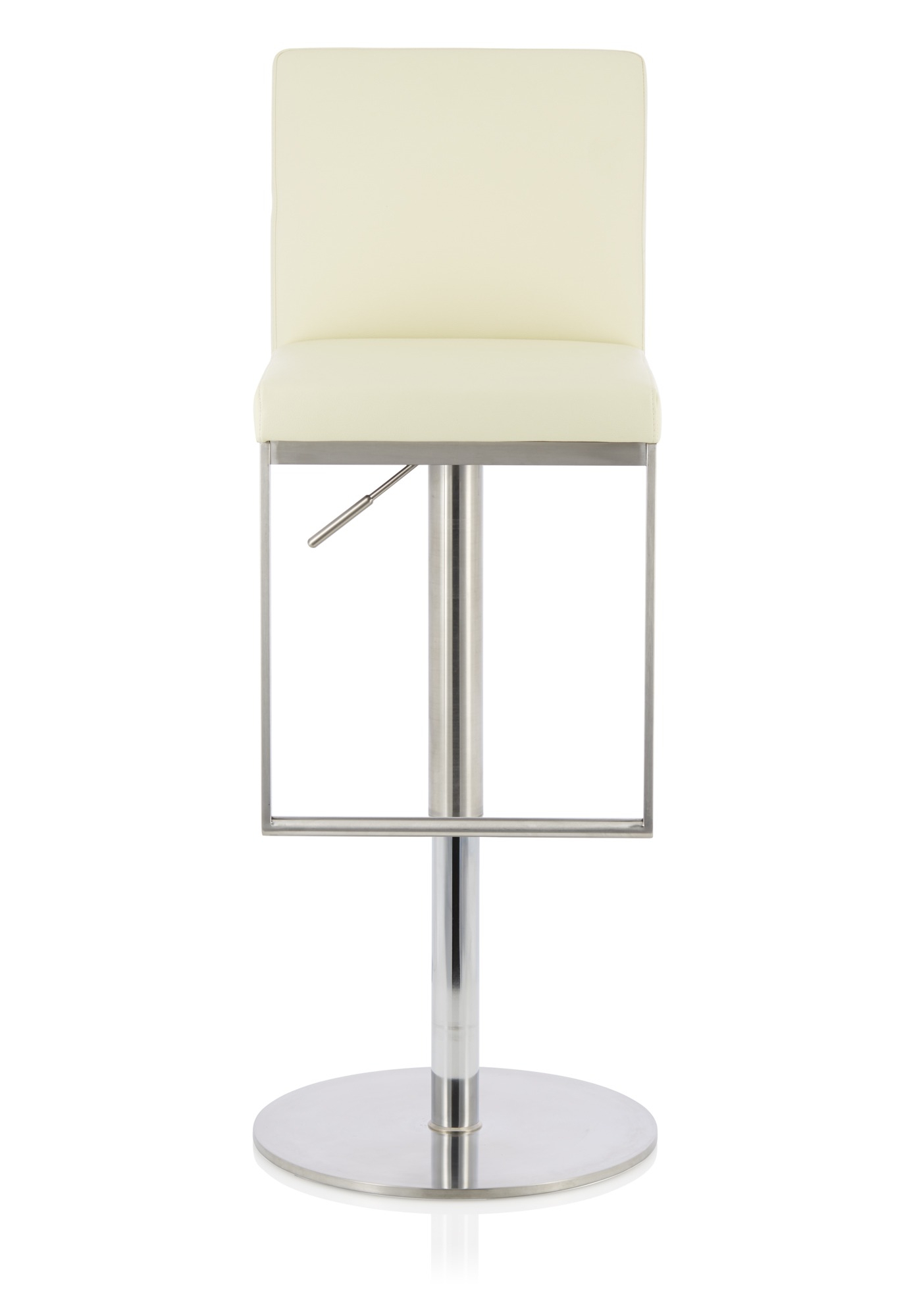 Gina Swivel Cream Faux Leather & Steel Bar Stool | Adjustable Bar Stool With Regard To Gina Grey Leather Sofa Chairs (Image 10 of 20)