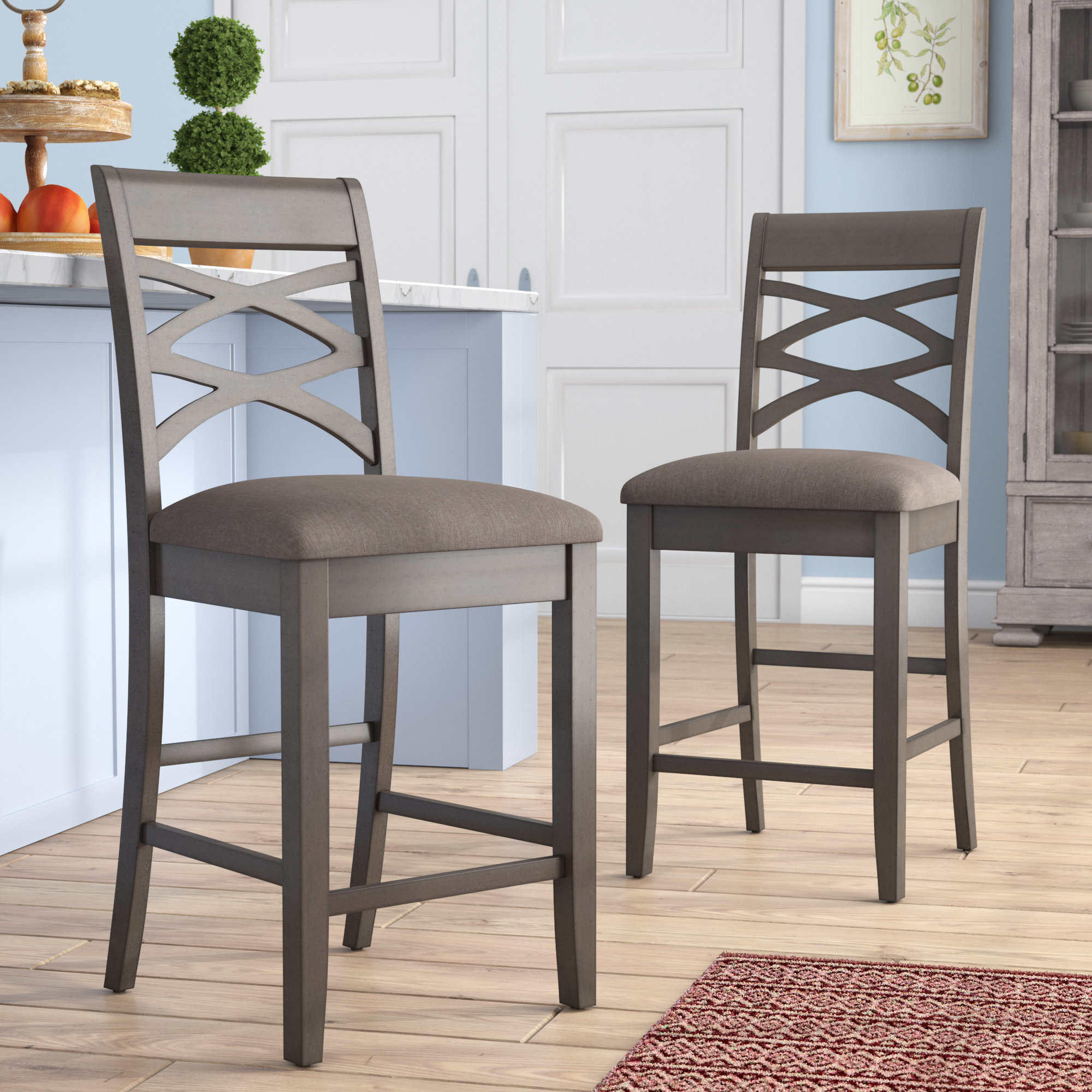 "Gracie Oaks Jeanine Wood Double Cross Back 24"" Bar Stool & Reviews Regarding Bailey Angled Track Arm Swivel Gliders (Image 8 of 20)"