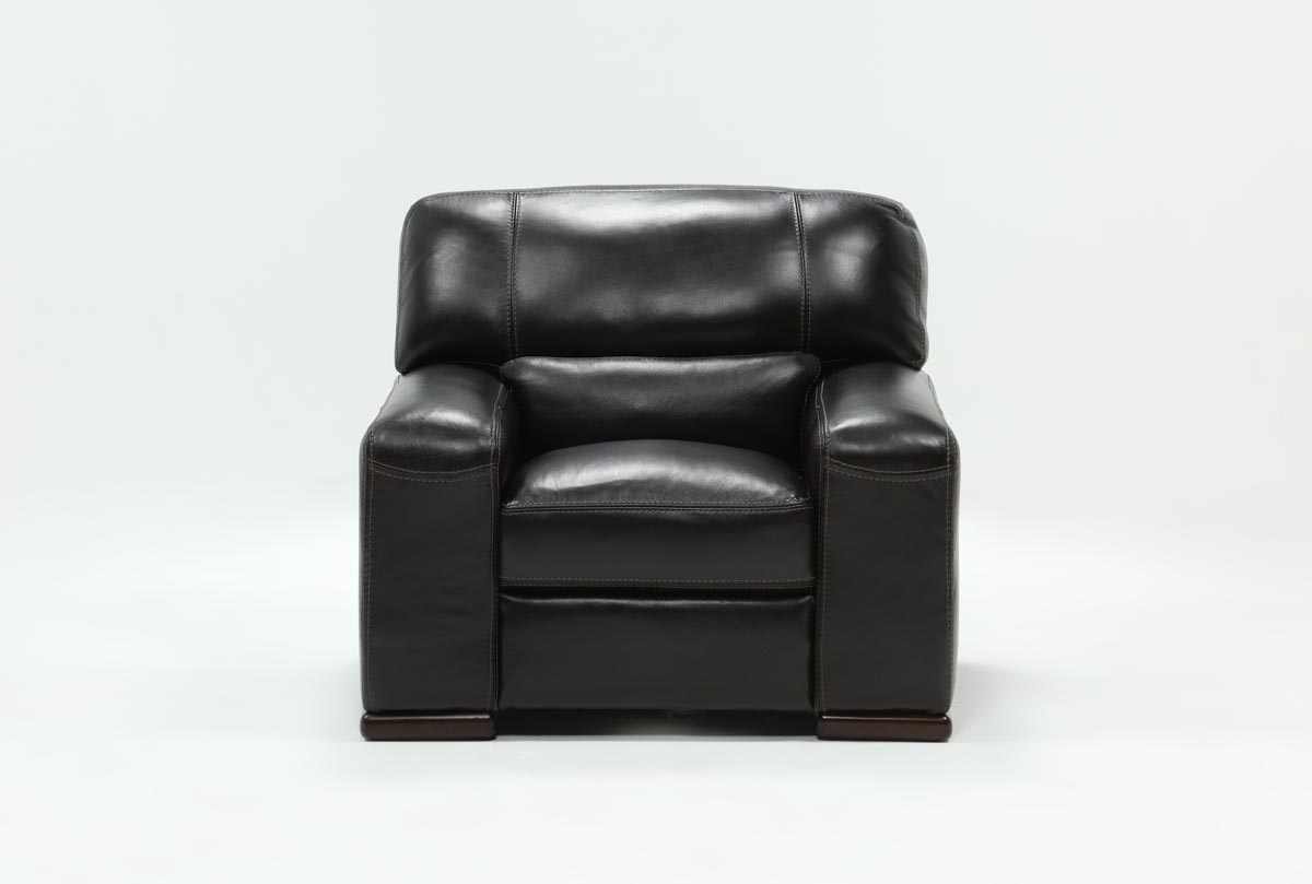 Grandin Leather Chair | Living Spaces Pertaining To Grandin Leather Sofa Chairs (Image 8 of 20)