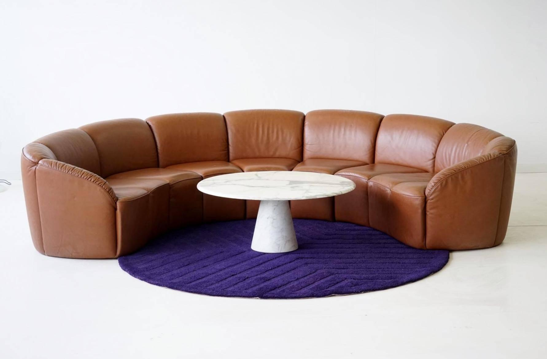 Half Round Leather Lounge Sofawalter Knoll, 1960S At 1Stdibs With Walter Leather Sofa Chairs (Image 3 of 20)