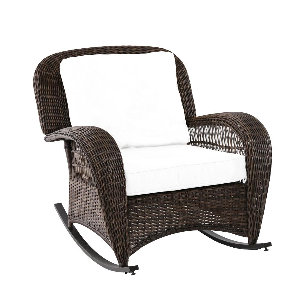 Hampton Bay Beacon Park Wicker Outdoor Rocking Chair With Toffee With Regard To Katrina Blue Swivel Glider Chairs (Image 9 of 20)