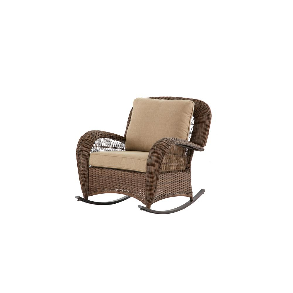 Hampton Bay Beacon Park Wicker Outdoor Rocking Chair With Toffee Within Katrina Beige Swivel Glider Chairs (Image 8 of 20)