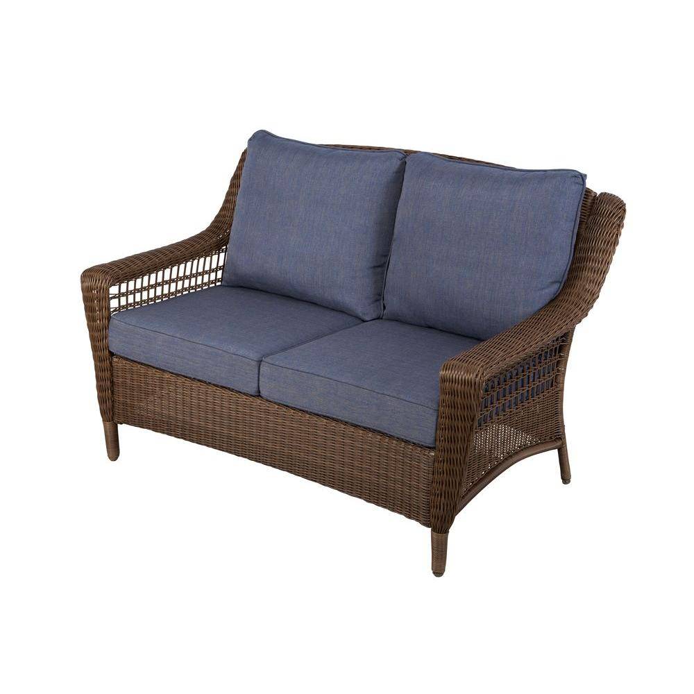 Hampton Bay Spring Haven Brown All Weather Wicker Outdoor Patio Pertaining To Haven Sofa Chairs (Image 6 of 20)