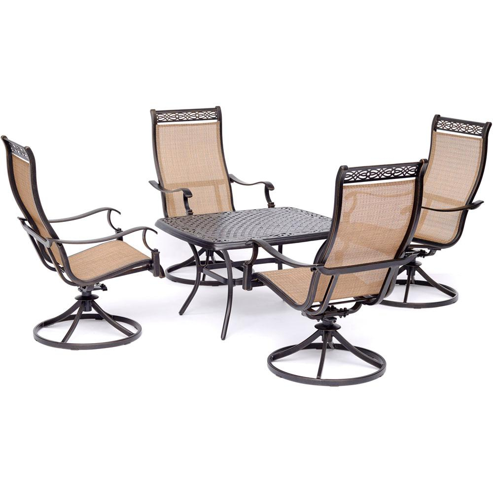 Hanover Manor 5 Piece Aluminmum Patio Conversation Set With 4 Swivel Intended For Manor Grey Swivel Chairs (Photo 17 of 20)