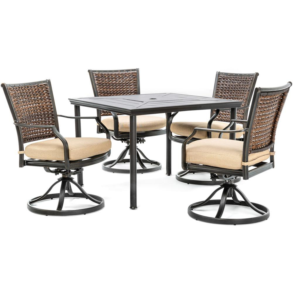 Hanover Mercer 5 Piece Aluminum Outdoor Dining Set With Country Cork Within Mercer Foam Swivel Chairs (View 8 of 20)