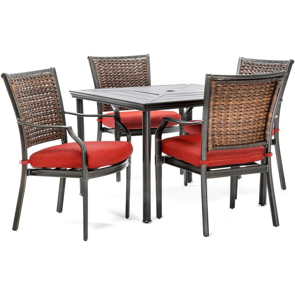 Hanover Mercer 5 Piece Aluminum Outdoor Dining Set With Crimson Red Throughout Mercer Foam Swivel Chairs (View 14 of 20)