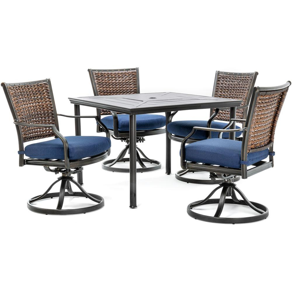 Hanover Mercer 5 Piece Aluminum Outdoor Dining Set With Navy Blue Pertaining To Mercer Foam Swivel Chairs (View 11 of 20)
