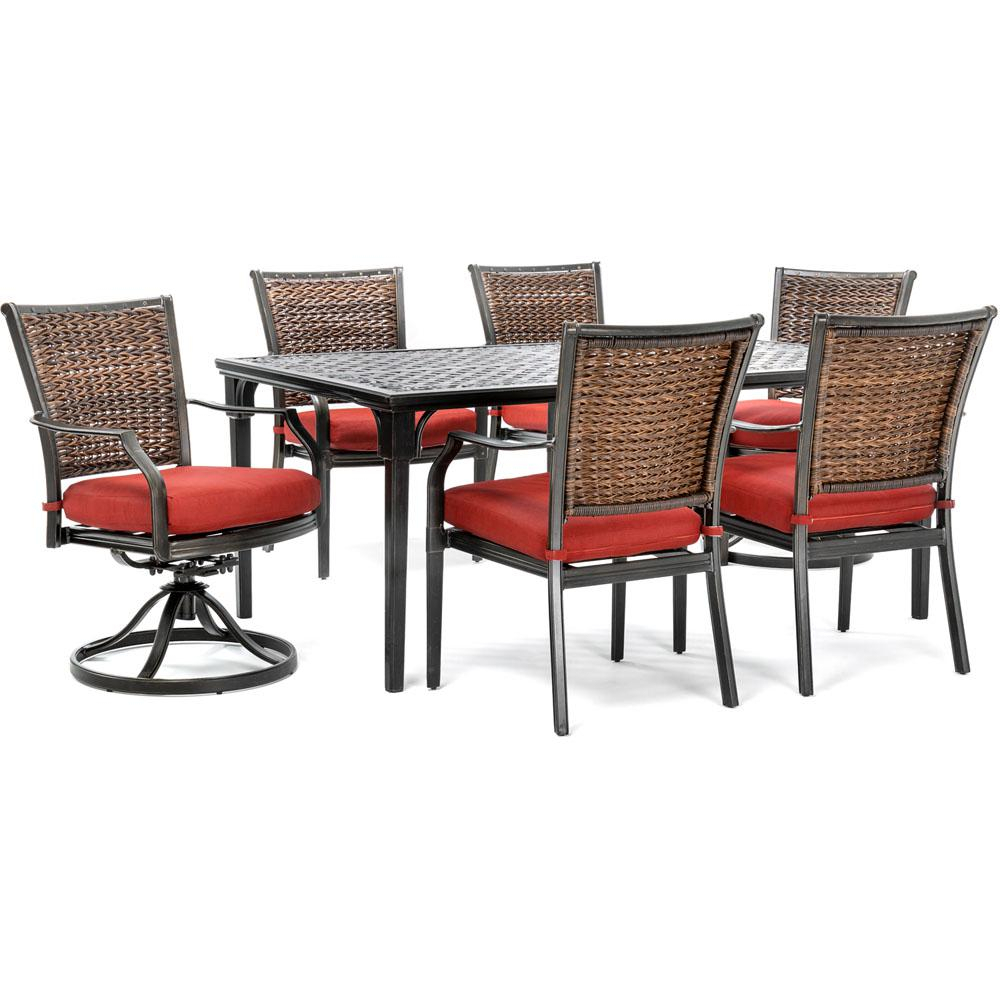 Hanover Mercer 7 Piece Aluminum Outdoor Dining Set With Crimson Red With Regard To Mercer Foam Oversized Sofa Chairs (Image 1 of 20)