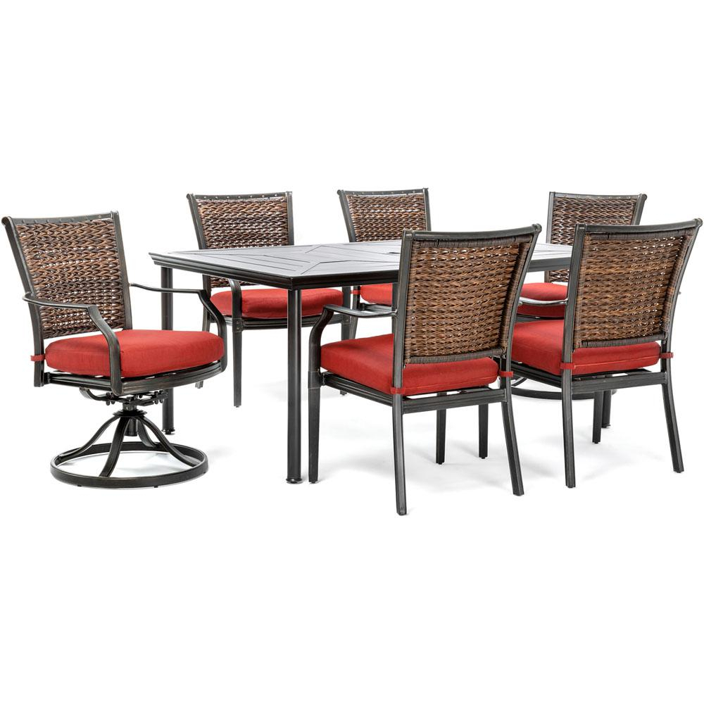 Hanover Mercer 7 Piece Aluminum Outdoor Dining Set With Crimson Red Within Mercer Foam Swivel Chairs (View 5 of 20)