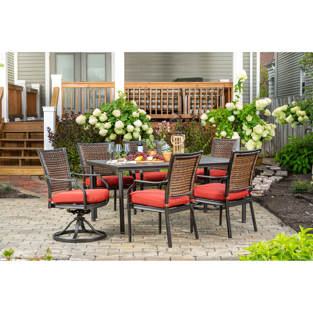 Hanover Mercer 7 Piece Patio Dining Set In Crimson Red With 4 Dining With Regard To Mercer Foam Swivel Chairs (View 20 of 20)